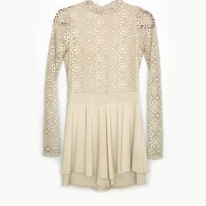Dresses & Skirts - Nude Lace Turtleneck Long Sleeve Shorts Romper